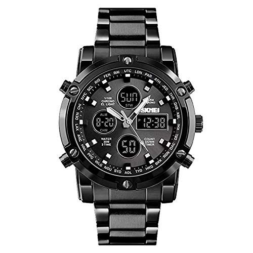 51vPV2AcDQL. SS500  - Skmei Mens Watches Top Brand Luxury Quartz Analog LED Digital Analog Watch Men (All Black)