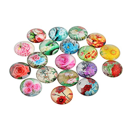 NBEADS 10 Pcs 16mm Mixed Color Half Round/Dome Glass Cabochons Flower Printed for Jewelry Making