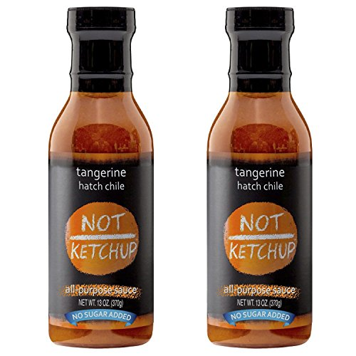 Pepper Ketchup (Tangerine Hatch Chile Paleo BBQ Sauce, No Added Sugar, Gluten Free, All Natural, Dipping, Grilling and Marinating Sauce, 13 oz Bottle (2 Pack))