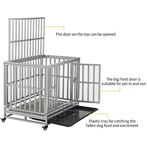 LUCKUP Heavy Duty Dog Cage Strong Metal Kennel and Crate for Large Dogs,Easy to Assemble Pet Playpen with Four Wheels