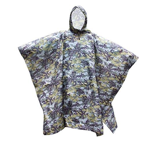 LUCKSTONE 3 in 1 Multifunctional Rain Poncho Camo Hooded Poncho Ripstop Rainwear, Waterproof Camouflage Rain Coat Outdoor Camo Shelter Ground Sheet for Hunting Camping Hiking (Yellow Camo)