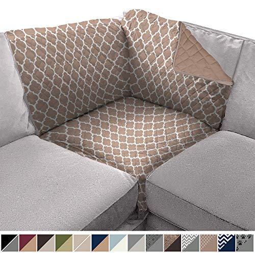 Sofa Shield Original Patent Pending Reversible Sofa Corner Sectional Protector, 30x30 Inch, Washable Furniture Protector, 2 Inch Strap, Sectional Corner Slip Cover for Pets, Dogs, Quatrefoil Mocha