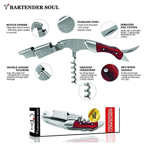 Professional Corkscrew (Pakka Wood), Double Lever with Damping, Excellent Wine Opener, Choice of Sommeliers and Waiters, Capsules Cutter, Strong 420 Grade Stainless Steel for Beer Bottles by Bartender Soul (Image #4)