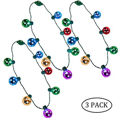 Biggerhigh 3 Pack Christmas LED Disco Necklace Light Up Holiday Accessories Party Favors 7 LED Disco -