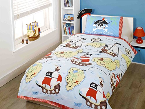 PIRATE SHIPS TREASURE SKULL CROSSBONES BLUE RED COTTON BLEND USA FULL (COMFORTER COVER 200 X 200 - UK DOUBLE) (PLAIN WHITE FITTED SHEET - 137 X 191CM + 25 - UK DOUBLE) 4 PIECE BEDDING SET