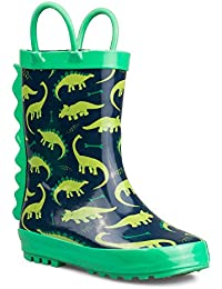 Baby Boy & Girl Rainboots - Waterproof with Easy-On Handles, Fun Prints & Anti-Slip Rubber Soles Safe & Easy to Clean for Toddler & Little Kids with All Sizes