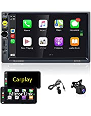 Upgraded Double Din Car Stereo 7 Inch Touch Screen D Auto Play Car Radio with Bluetooth FM Radio TF/AUX/Subwoofer/Quick Charge Car MP5 Player Support Mirror Link/SWC+ High-Definition Camera+ Extra Mic