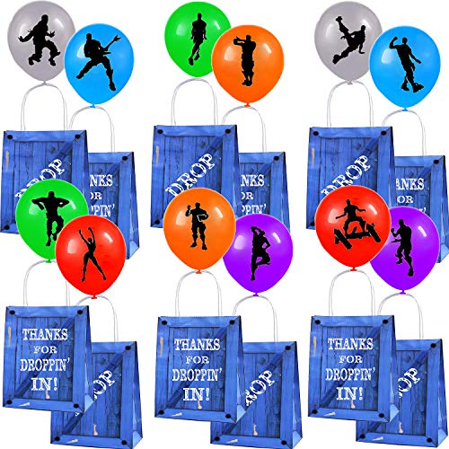 Game Party Supplies, 12 Pack Game Gift Bags with 12 Pack Game Balloons Party Bags for Kids Birthday Party Favors