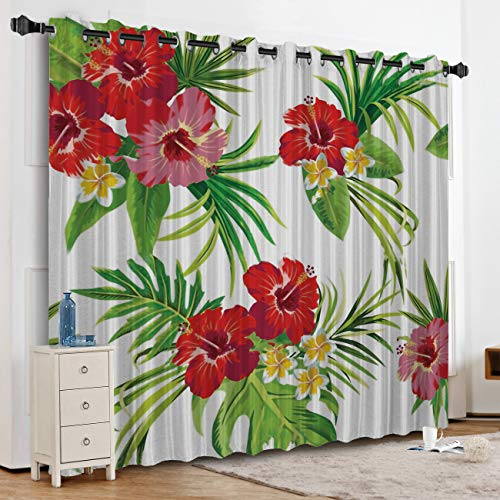 Anzona Tropical Rainforest Flowers Kitchen Curtains Window Drapes Thermal Insulated, Blackout Curtains for Kitchen/Cafe/Office/Bedroom Window Treatment, 52''W x 90''L