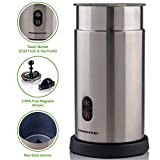 Ovente FR1008S Electric Milk Frother and Warmer, Cordless, Hot/Cold with One Touch, Stainless Steel, BPA Free, 7 oz for Frothing 14 oz for Heating