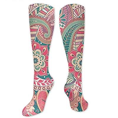 MSONNET Pink Datura Flowers 3D Printing Cool Athletic Socks Sports Socks Compression Socks Football Socks Long Socks Knee High Socks for Boys Girls Kids Toddler