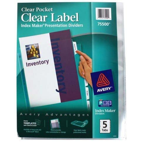 Avery 75500 Laser/Inketj Pocket Divider,Punched,5-Tab,11