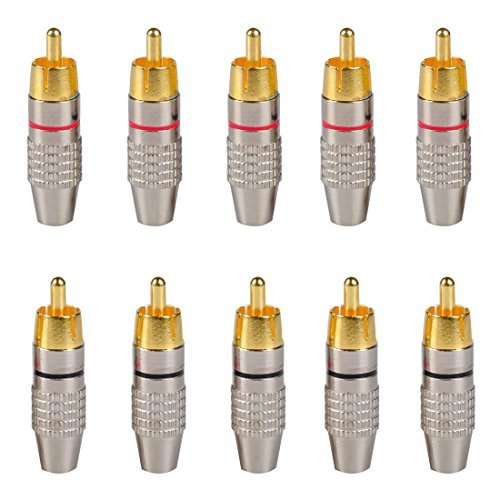 ZXHAO RCA Male Plug Adapter Audio Video In-Line Jack Solderless Adapter 10pcs