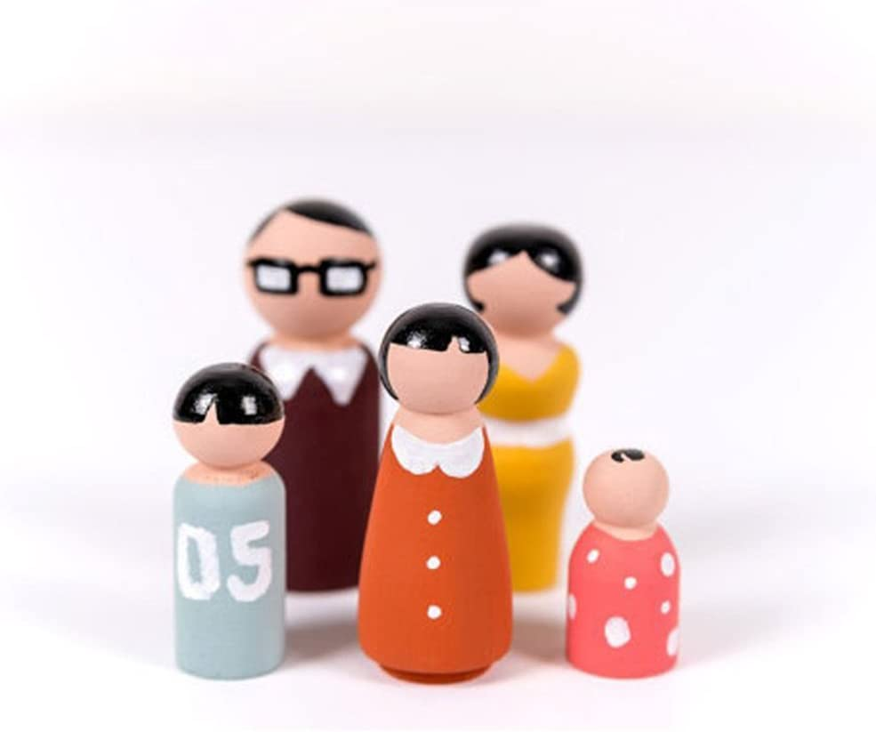 Gemini/_mall Wooden Peg Doll Decorative Unfinished Doll Bodies Family People Figure Set DIY Crafts Baby Kids Toys