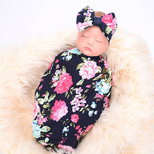 Newborn-receiving-blanket-headband-set-flower-print-baby-swaddle-receiving-blankets-galabloomer