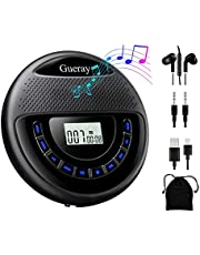 Gueray CD Player Portable with Speaker Dual Stereo Rechargeable 1400mAh CD Walkman Battery Personal CD Player with Headphones Memory Function Anti-Skip Protection LCD Display
