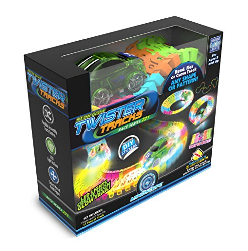 Mindscope Twister Tracks Neon Glow In The Dark 221 Piece  11 Feet  Of Flexible Assembly Track Race Series