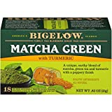 Bigelow Tea Matcha Green Tea with Turmeric 18Count (Pack of 6) Caffeinated Individual Green Tea Bags, for Hot Tea or Iced Tea, Drink Plain or Sweetened with Honey or Sugar