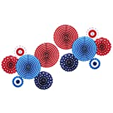 MOWO Hanging Paper Fan Decoration, Wedding/Birthday/Christmas Decor,Party/Events Decor, Home Decor Supplies Flavor (red/blue/white color, 12 pack)