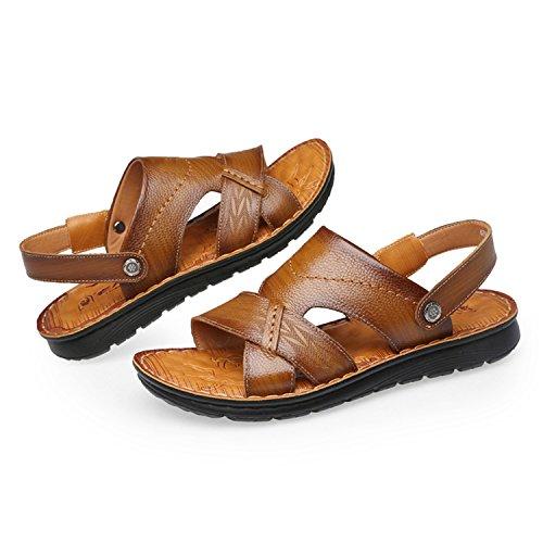 La Cuero Darkbrown Abierto Hombres Ocio Cómodos Zapatos Libre Para Al Deportes Sandalias Playa Verano Ajustables Para Aire snfgoij Ocio UZPqaxn