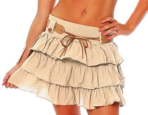 Beige coton Mesdames en jupe jupe volants mignon ZARMEXX 36 taille ceinture d't avec 40 Volantrock Mini jupe unique xw7pdqTPd