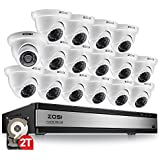 ZOSI 720p 16 Channel HD Security Camera System,16 Channel Surveillance DVR Recorder with 16 x 1280TVL(720p) Weatherproof Indoor/Outdoor CCTV Dome Camera System,2TB Hard drive