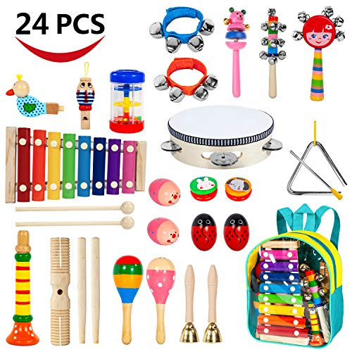 AILUKI Toddler Musical Instruments,24PCS 17 Kinds of Wooden Percussion Instruments Tambourine Xylophone for Kids Preschool Education,Early Learning Musical Toy for Boys and Girls with Storage Backpack (Musical Toy Xylophone Wooden)