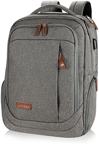 KROSER Laptop Backpack Large Computer Backpack Fits up to 17.3 Inch Laptop with USB Charging Port Water-Repellent School Travel Backpack Casual Daypack for Business College Women Men-Grey