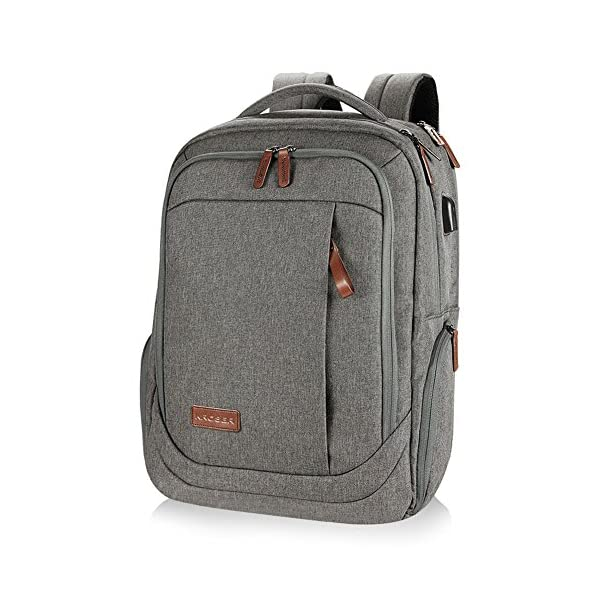 Laptop Backpack 17 Inch with USB Charging Port Anti-Theft Pockets,Stylish Travel Business Backpack for Women Men,Slim College Daypack School Bag Computer Rucksack for Laptops Up to 17.3,Grey