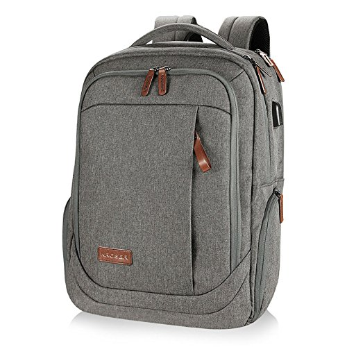 KROSER Laptop Backpack Large Computer Backpack for 15.6-17.3 Inch Laptop with USB Charging Port Water-Repellent School Travel Backpack Casual Daypack for Business/College/Women/Men-Grey ()