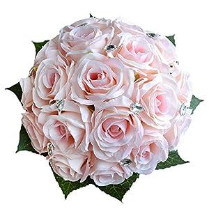 Abbie Home Bride Bouquets - Wedding Flower Bouquet Handmade Rose Rhinestone Pearl Bridal Artificial Silk Flower with Different Design (Pink) 24