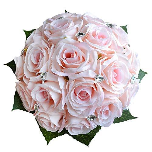 Abbieホームブライダルブーケ – ハンドメイドWedding Bouquetsローズラインストーンブライダル人工シルクフラワー ホワイト 390set B07BHDW4GL 1pc-white