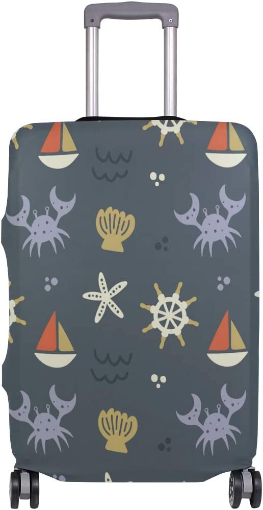 Travel Luggage Cover Compass Sailing Pattern Crabs Starfish Suitcase Protector