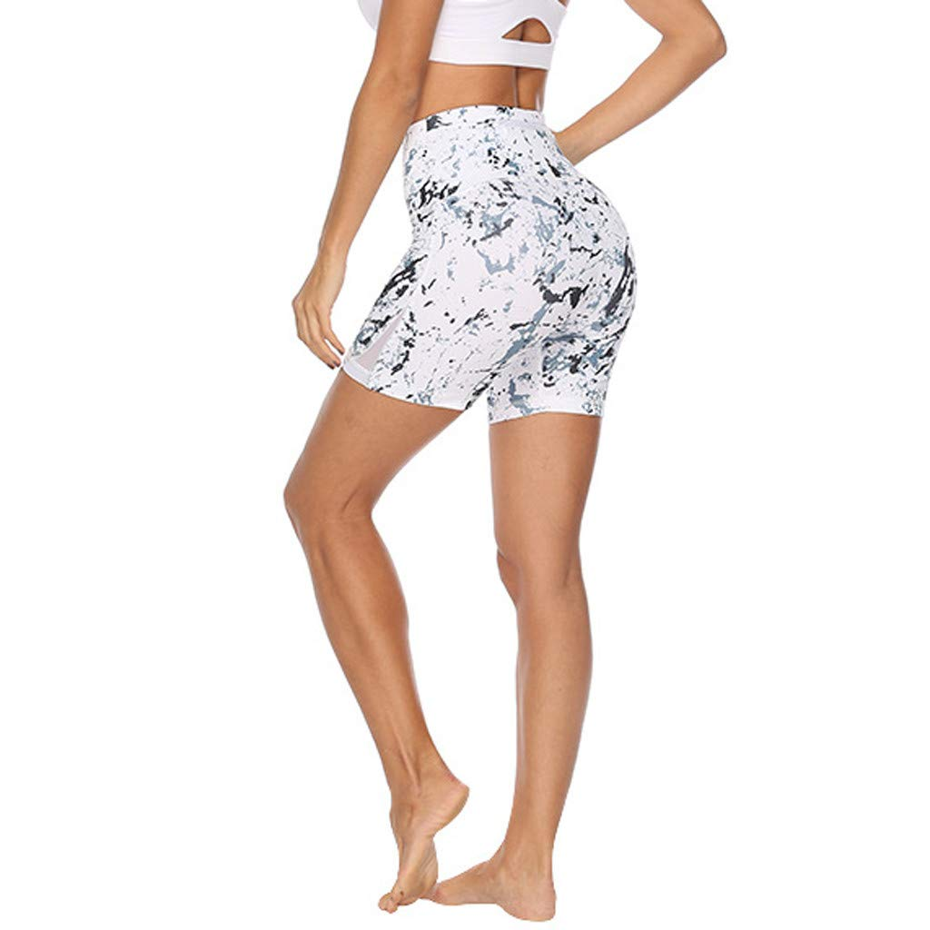 Women Print Yoga Sports Tight Short Pants and Hips High Waist Thread Short Pant Stretch Comfort Tight Shorts for Running Work Out Fitness