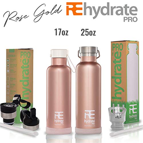 (Rehydrate Pro (Rosegold 25oz Double-Insulated Stainless Steel Water Vacuum Bottle Flask -Compatible to Swell Yeti Hydro and Klean Kanteen for Hot or Cold Drinks. 25 Oz + Bonus 'Flip N Sip' Sports Cap)