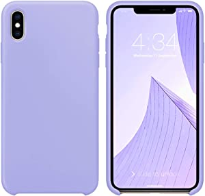 """xperg iPhone X Case, iPhone Xs Silicone Case, Slim Liquid Silicone Gel Rubber Shockproof Case Soft Microfiber Cloth Lining Cushion Compatible with iPhone X/XS 5.8"""" (Clove Purple)"""