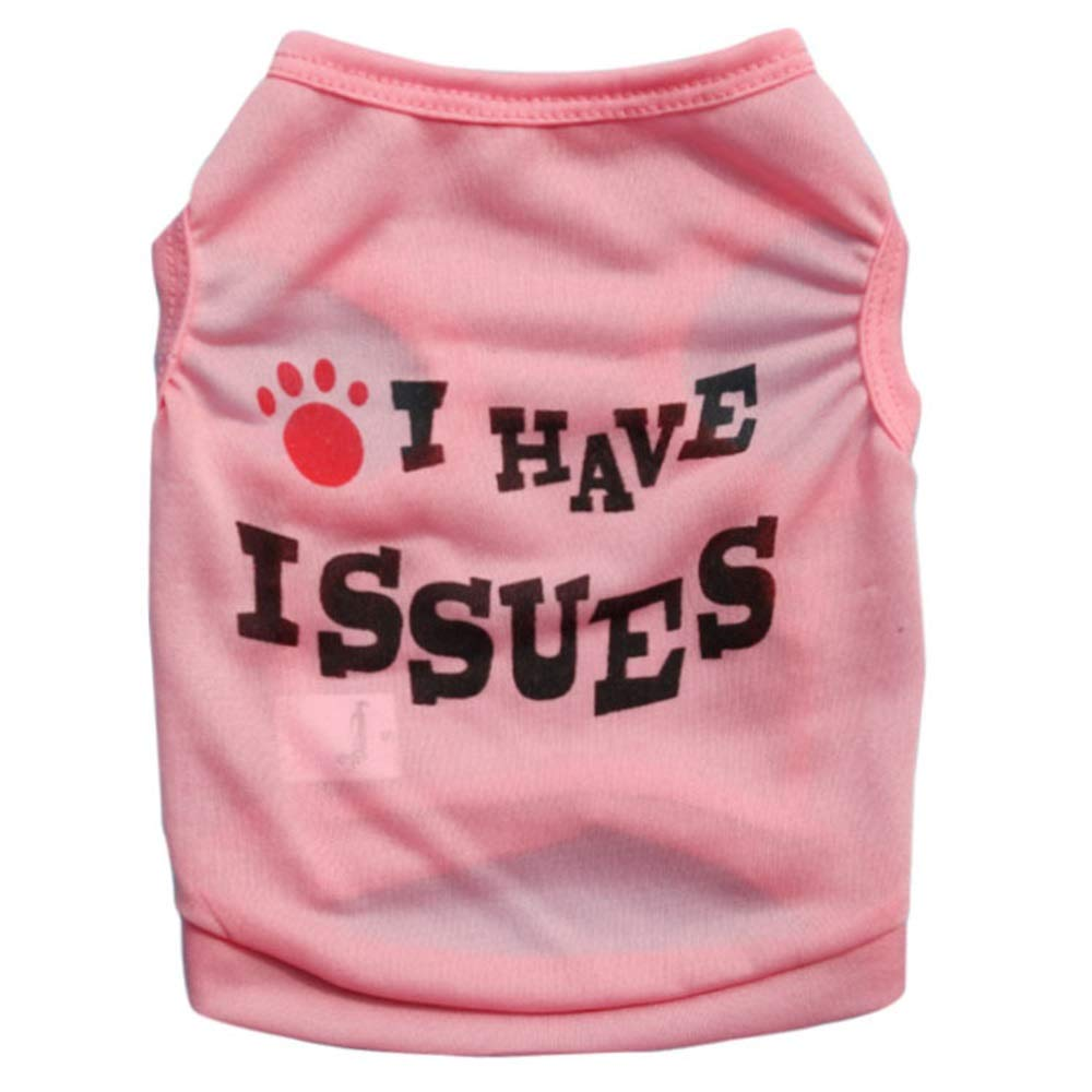 Pink M Pink M AUSWIEI Dog Clothes Polyester Large and Medium Small Dog Pet Vest (color   Pink, Size   M)