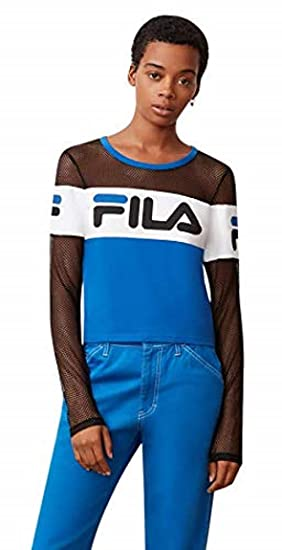 Fila Women s Tara Mesh-Sleeve Cropped Top at Amazon Women s Clothing store  f9c99edfe