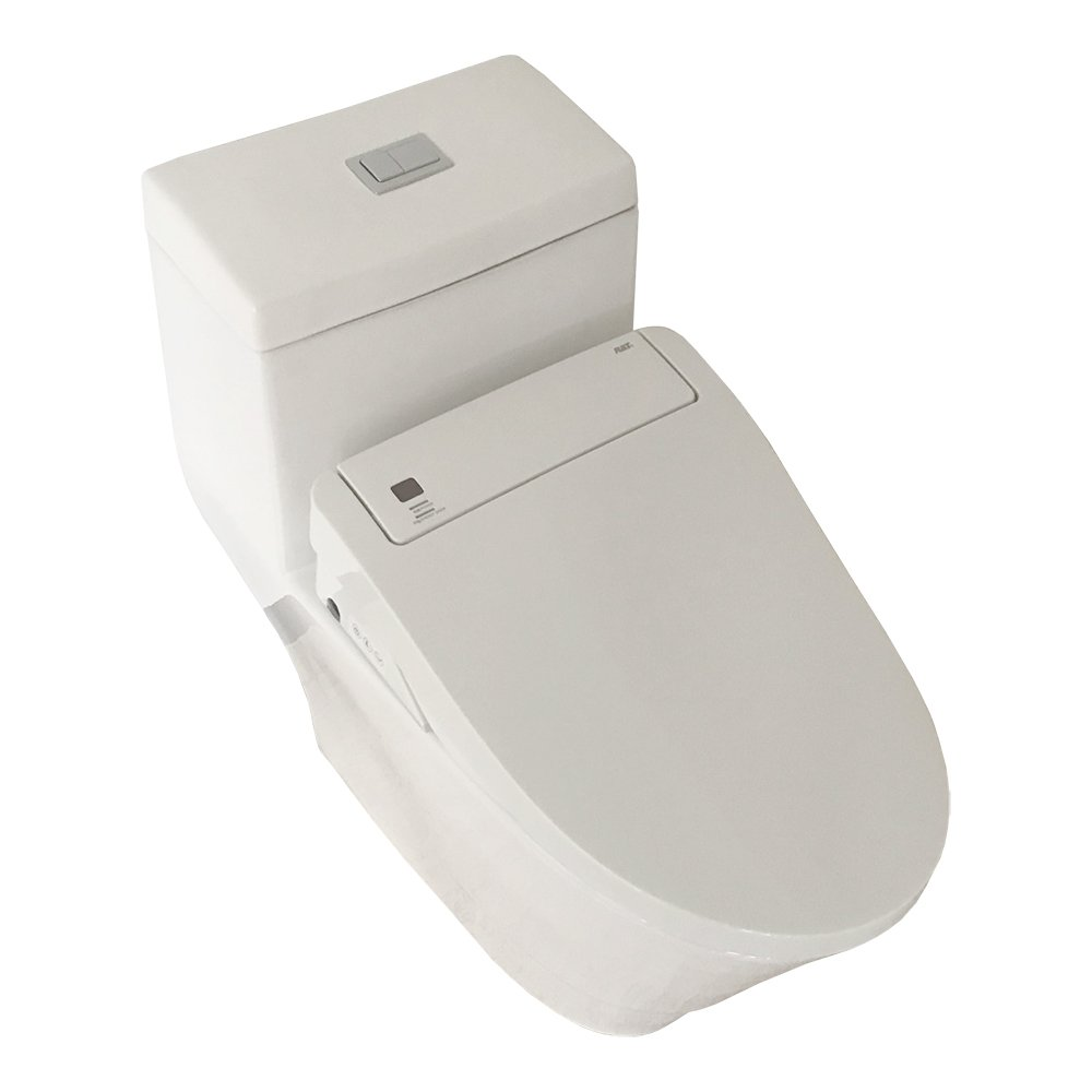 Woodbridgebath T-0008 Bidet Elongated One Piece Toilet with Advanced Bidet Seat, Smart Toilet Seat with Temperature Controlled Wash Functions and Air Dryer, Automatic Flush