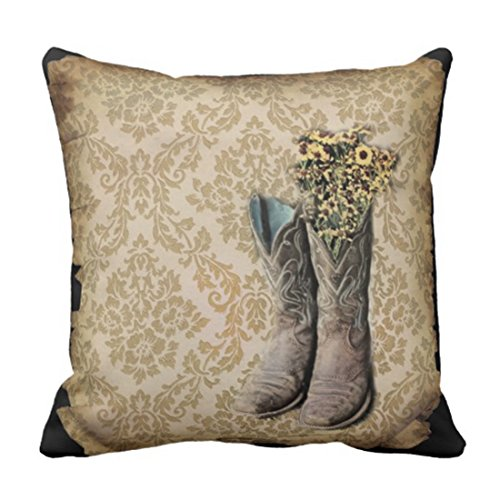 Emvency Throw Pillow Cover Tan Cowgirl Damask Wildflower Western Country Cowboy Yellow Barn Decorative Pillow Case Home Decor Square 18 x 18 Inch Pillowcase