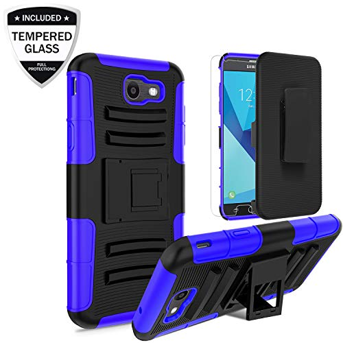 Samsung Galaxy J3 Emerge/J3 2017/J3 Prime/J3 Eclipse/Sol 2/Amp Prime 2/Express Prime 2 Case w/Tempered Glass Screen Protector,Heavy Duty Shockproof Case w/Belt Clip Kickstand for Men/Women/Boys,Blue