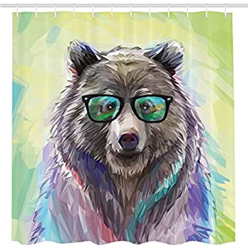 Ambesonne Funny Animal Shower Curtain By Cool Low Poly Hipster Bear Wild Portrait Spectacled With Fluffy Colorful Fancy Decor Cute Charming