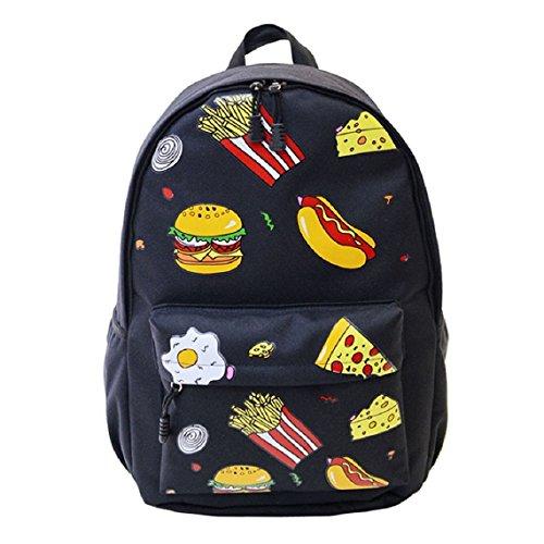 Demarkt Viaje Mochila hamburguesas Chicas Chicos Escolar Mochila Bolso de hombro(hamburguesa marina) hamburguesa negro