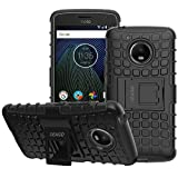 Moto G5 Case, OEAGO [Shockproof] [Impact Protection] Tough Rugged Dual Layer Protective Case with Kickstand for Motorola Moto G5 (2017) - Black