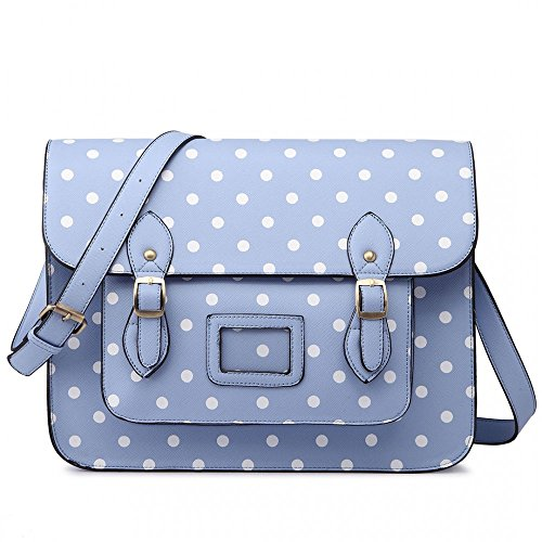 Women Blue Ladies Style Satchel Cambridge School Work Bag Girls Dot Polka ffrvqwxnF