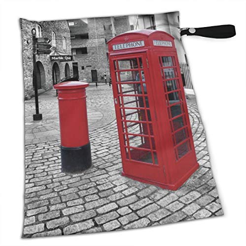NIAOBUDAI London Red Telephone Booth Baby Wet and Dry Cloth Diaper Bags, Nappy Organizer Bag, Multipurpose Travel Packing Organizer Bags for Swimsuit, Underwear, Washable & Reusable