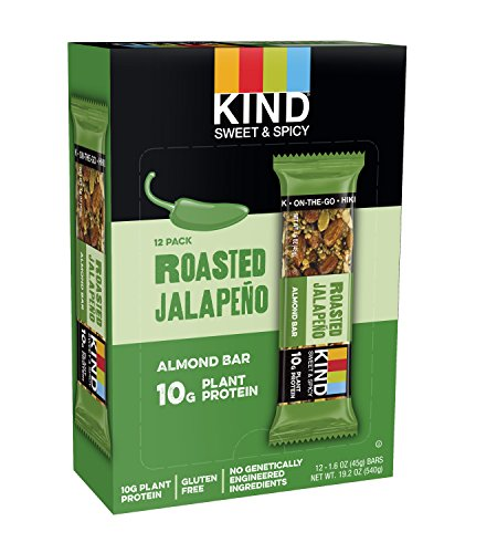 KIND Sweet and Spicy Bars, Roasted Jalapeno, Gluten Free, 10g Plant Protein, 1.6oz, 12 ()