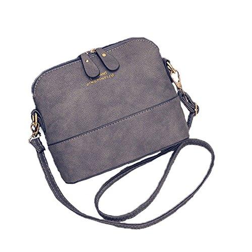 Jiaruo Small Vintage Ladies Leather Crossbody Shoulder Bag shell bags Handbags (grey) (Crossbody Purse Grey)