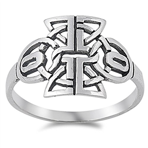 - Sterling Silver Women's Aztec Tribal Cutout Design Ring (Sizes 5-10) (Ring Size 7)