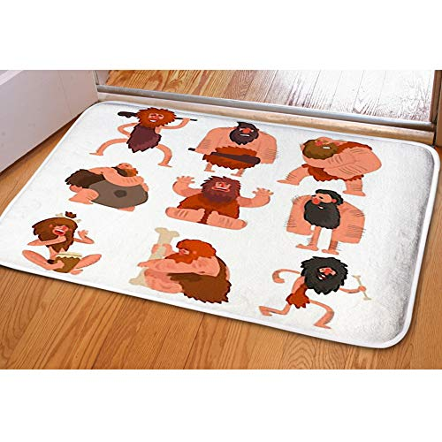 iBathRugs Door Mat Indoor Area Rugs Living Room Carpets Home Decor Rug Bedroom Floor Mats,Primitive Cavemen Set Stone Age]()